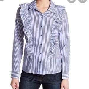Nordstrom - NWOT Striped Ruffle Button Down Shirt